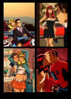 Peter Parker & Gwen Stacey, Mary Jane Watson & Peter Parker by Des Taylor