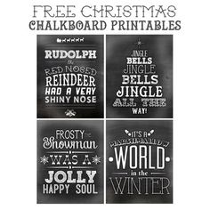 free Christmas Chalkboard Printables - cute, cheerful songs, ready to print
