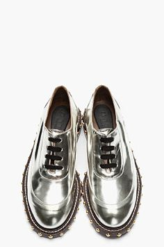 MARNI - Metallic Silver Leather Studded Shoes