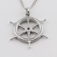 Whether you're the skipper, cabin boy or commodore this ships wheel will engage sea going jewellery lovers who ever they are. Ship Wheel, Sterling Silver Pendants, Pocket Watch, Wicked, Ships, Lovers, Cabin, Sea, Jewellery
