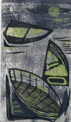 'Boats' by German-born American artist & printmaker Hildegarde Haas Color woodcut, 12 x 7 in, edition of via M Lee Stone Fine Prints African American Artist, American Artists, Plum Art, Boat Art, Mid Century Art, Wood Engraving, Print Artist, Art Prints, Block Prints