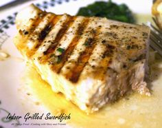 Grilled Swordfish Steaks I grew up most of my childhood in New England, in a few small towns located on the coast. My dad would go down to one of the local fish… Fish Steak Recipe, Steak Recipes, Grilling Recipes, Cooking Recipes, Grilling Ideas, Bbq Ideas, Cooking Ideas, Fish Dishes, Seafood Dishes