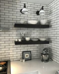 2x8 Gloss White Glazed Brick Backsplash. Retro Lighting, Brick Cafe, Shower Floor, Kitchen Fireplace, Brick Backsplash, Brick Kitchen, Brick Fireplace, Painted Brick, Victorian Homes