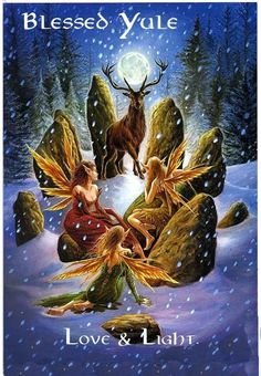 Yule/Winter Solstice : Cards by Occasion / Recipient : Home : Pagan/spiritual and fairy/fantasy greeting cards, prints and gifts at Moondragon Fantasy Kunst, Fantasy Art, Winter Solstice, Solstice 2016, Fairy Art, Magical Creatures, Samhain, Pagan Yule, Wiccan Witch