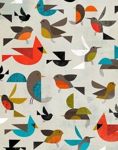 birds - Dante Terzigni illustration- looks like Charley Harper Bird Patterns, Textures Patterns, Print Patterns, Applique Patterns, Pattern Ideas, Design Patterns, Vogel Quilt, Illustration Inspiration, Bird Illustration