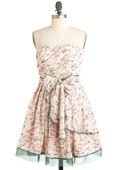 Bouquet Building Dress - Short, Cream, Green, Pink, Floral, Party, Strapless, Spring, Fit & Flare, Fairytale