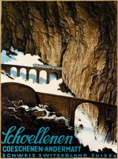 Schoellenen-Gorge-Switzerland-Vintage-European-Travel-Advertisement-Art-Poster