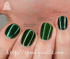 Nubar Greener vs China Glaze Jolly Holly vs Golden Rose Rich Color vs Avon Midnight Green