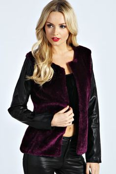 Ana Teddy Fur PU Sleeve Coat at boohoo.com