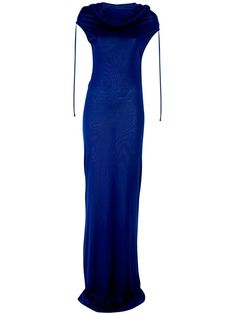 Ann Demeulemeester 'Giselle' Maxi Dress -Blue jersey 'Giselle' maxi dress from Ann Demeulemeester featuring a draped neck, cap sleeves with string detail and straight cut shape - Dolci Trame