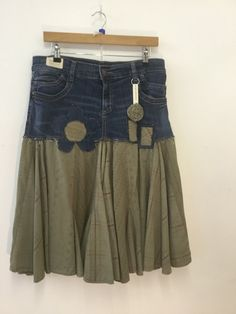 One of a kind retro style festival, up cycled, refashioned denim jeans into a skirt, winter skirt, beach skirt, boho, hippy, UK size 14 by Thatledoo on Etsy