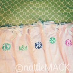 Monogrammed Pink Seersucker Pajama Pants by nattieMACK on Etsy