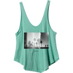 RVCA Women's  Coastal Palms Tank Top ($26) ❤ liked on Polyvore featuring tops, green, loose fit tank top, rvca tank, scalloped tank, loose tank tops and palm tree tank top