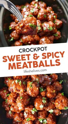 Crockpot sweet and spicy meatballs are the perfect party appetizer! These easy meatballs are great to eat with a toothpick; just drop everything in the crockpot and let the machine do its magic! This easy snack recipe is a total crowd pleaser, loaded with