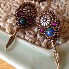 Vintage Free Spirit earring Gorgeous silver lapis beads gold and red feather gold tone earring Free spirit  Jewelry Earrings