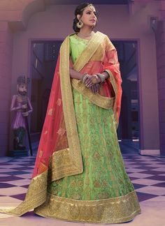Buy Online Designer Lehenga, Light Green Color, Net Material, Ceremonial Wear Lehenga, Partywear Lehenga, Wedding Wear Lehenga for women. We have large range of Designer Lehenga's in our website with the best pricing and unique designs shipping to (UK, USA, India, Germany, UAE, Canada, Singapore, Australia, Mauritius, New Zealand) world wide.