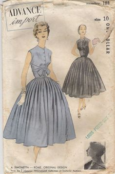 1950s dress with pleated skirt and button down bodice