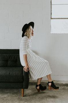 *Sneak Peek* Sawyer Stripe Dress in Ivory | ROOLEE