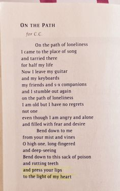 Book of Longing - On The Path - Leonard Cohen