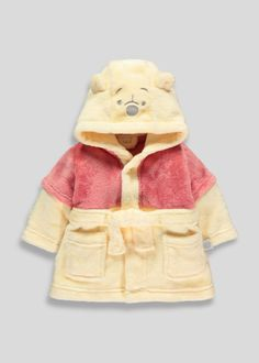 Kids Winnie the Pooh super soft yellow and red novelty robe with 3D ears and embroidery of Winnie the Pooh on the hood.