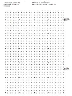 """A VOID BUILDING: paavo: Archizoom No-Stop City (1969) Typed plan made of periods, x's and small """"o""""?"""