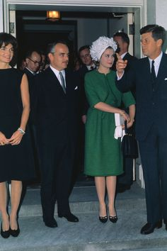 June 12, 1961.  Jackie Kennedy with Prince Rainier and Princess Grace at a reception at the White House in Washington, DC.