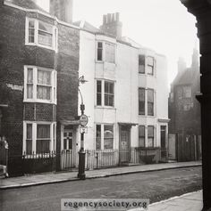 Early nineteenth century houses, 25 and Dorset Gardens, photographed in 1961 just before their demolition to make way for the Woolworth store in St James' Street. Dorset Garden, Make Way, Brighton And Hove, Old Photos, Past, England, Street View, Gardens, Houses