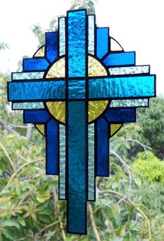 Stained Glass Cross Suncatcher Stained Glass Art by BoxesandBeyond #StainedGlassLight