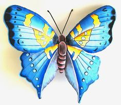 Butterfly Metal Wall Decor - Hand Painted Metal Blue Butterfly Wall Hanging - Upcycled Haitian Steel Drum Tropical Art -  - Tropical decorating – Tropical Home Decor - Tropical design - Tropical wall art - Caribbean decor - Metal tropical art - Tropical decorations - Tropical art - Caribbean wall decor- Tropical home decor - Tropical interior decorating - Tropical decor - Painted metal art – Tropical Decorating - Tropical Design -  by TropicAccents on Etsy