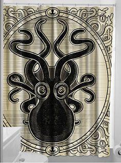 Killer Kraken Octopus Shower Curtain at ShopPlasticland.com