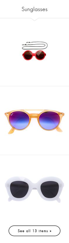 """""""Sunglasses"""" by tynabrookler ❤ liked on Polyvore featuring accessories, eyewear, sunglasses, orange, ray ban sunnies, round acetate sunglasses, ray ban sunglasses, unisex glasses, acetate glasses and white"""