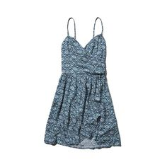 Abercrombie & Fitch Patterned Wrap Front Skater Dress ($26) ❤ liked on Polyvore featuring dresses, blue print, print dress, strappy dress, draped dress, white strap dress and strappy skater dress