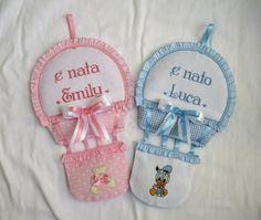 fiocco nascita mongolfiera per Emily e Luca;  sito privato: http://lecreazionidimichela.it.gg/HOME.htm