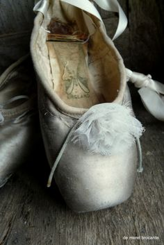 vintage silver tone pointe shoes