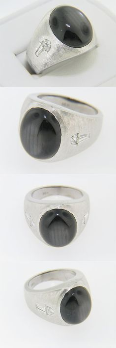 Rings 165044: Vintage Unique Oval Black Star Sapphire And Diamond Ring 14K White Gold Size 6.5 -> BUY IT NOW ONLY: $2440 on eBay!
