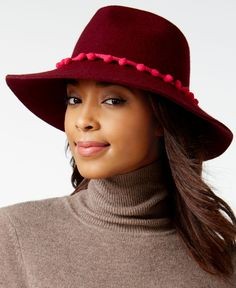 August Hats It Girl Pom Strand Large Felt Fedora