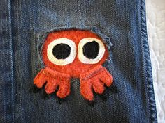 Repair hole in kids' jeans with monster patch! From Resweater