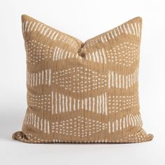This beautiful camel and cream pillow will add the graphic impact your space is craving. The large scale pattern of dots and dashes has a hand loomed, artisanal quality with a nubbly slub that is slightly reminiscent of raw silk. It's sure to deliver a warm, organic texture and worldly appeal to any space. Cream Pillows, Bed Pillows, Industrial Scandinavian, Rosy Pink, Large Sofa, Color Of The Year, Home Decor Accessories, House Colors, Pillow Inserts