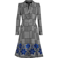 Alexander McQueen Prince of Wales check jacquard coat ($5,635) ❤ liked on Polyvore featuring outerwear, coats, jackets, alexander mcqueen, coats & jackets, royal blue coat, jacquard coat, floral print coat, black and white coat et floral coat