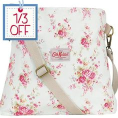 Cath Kidston cotton messenger bag Washed Roses contrasting Hampton Rose lining.