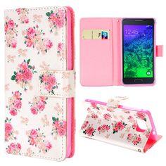 Samsung Galaxy Alpha Flip Cover, hoesje, case flower