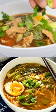 This Easy Chicken Ramen can be made at home in about 30 minutes! A flavorful broth with chicken and noodles, and don't forget the ramen egg! recipes videos for dinner chicken comfort foods EASY CHICKEN RAMEN Healthy Dinner Recipes, Soup Recipes, Vegetarian Recipes, Cooking Recipes, Chicken Ramen Recipe, Chicken Recipes, Beef Ramen Broth Recipe, Beef Broth, Health Dinner
