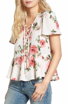 Main Image - Mimi Chica Print Lace-Up Top