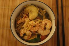 Prawn and vegetable stir fry in tamarind and oyster sauce