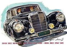 1953 Mercedes 300 S Coupe - Promotional Advertising Poster Mercedes 300, Mercedes Benz Cars, Custom Mercedes, Automobile, Daimler Benz, Classic Mercedes, Advertising Poster, Ford Trucks, Art Cars