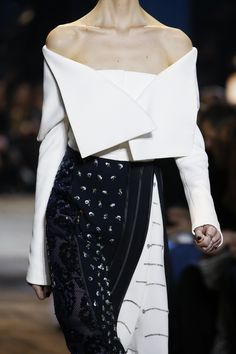 Dress with soft folds, graphic lines & embellishment; couture fashion details // Christian Dior Spring 2016