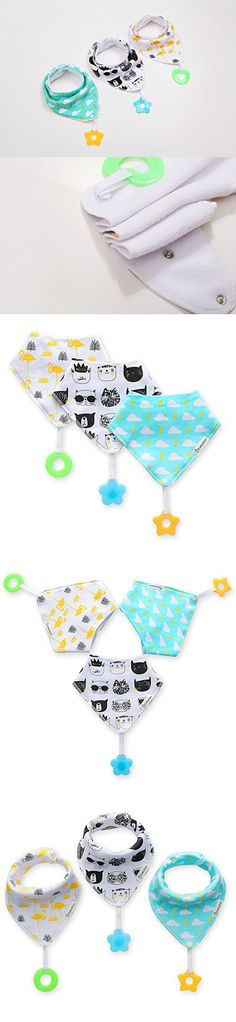 3 Pcs Baby Bandana Drool Bibs for Teething - Made with 100% Organic Cotton and BPA Free Teether, Super Absorbent and Soft