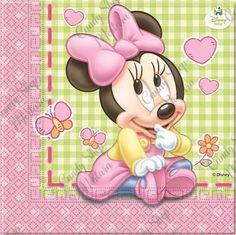 Baby Minnie Busta 8pz Baby Mickey, Minnie Mouse, Mini Bebidas, Disney Babys, Party Packs, Paper Napkins, Packing, Teddy Bear, Kids Rugs