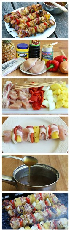 Chicken kebabs with bacon