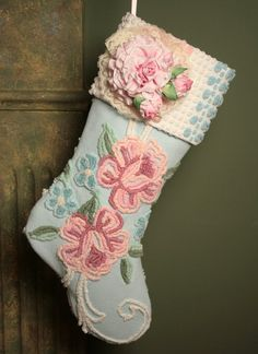 Pink Roses on Blue Vintage Chenille Christmas by ChristmasIsLove